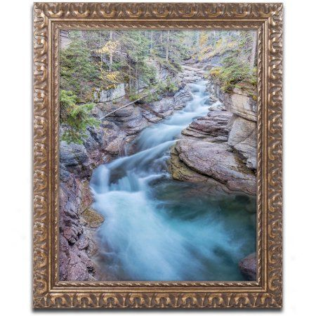 Trademark Fine Art 'Maligne River' Canvas Art by Pierre Leclerc, Gold Ornate Frame, Size: 11 x 14, Assorted