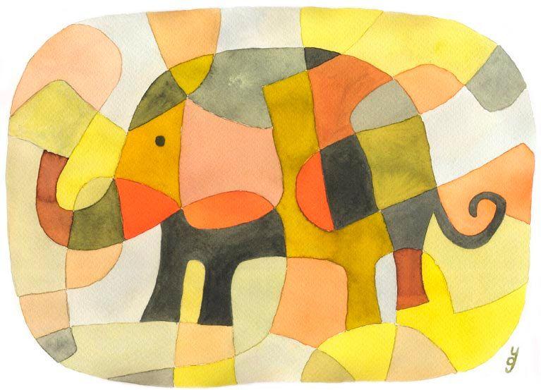 Elephant 1 - BIG Mid Century Modern Art Print Poster Nursery Wall ...