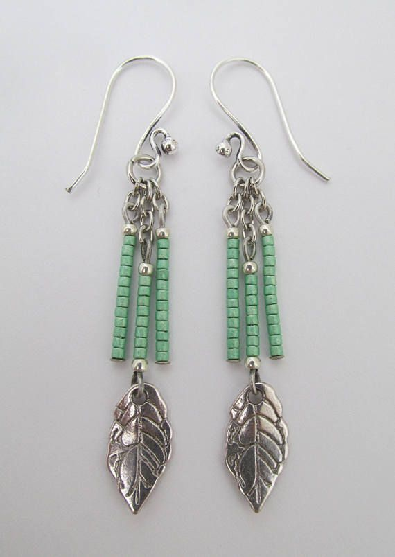 Seed Bead Leaf Charm Dangle Earrings Green Jewelry Inspiration