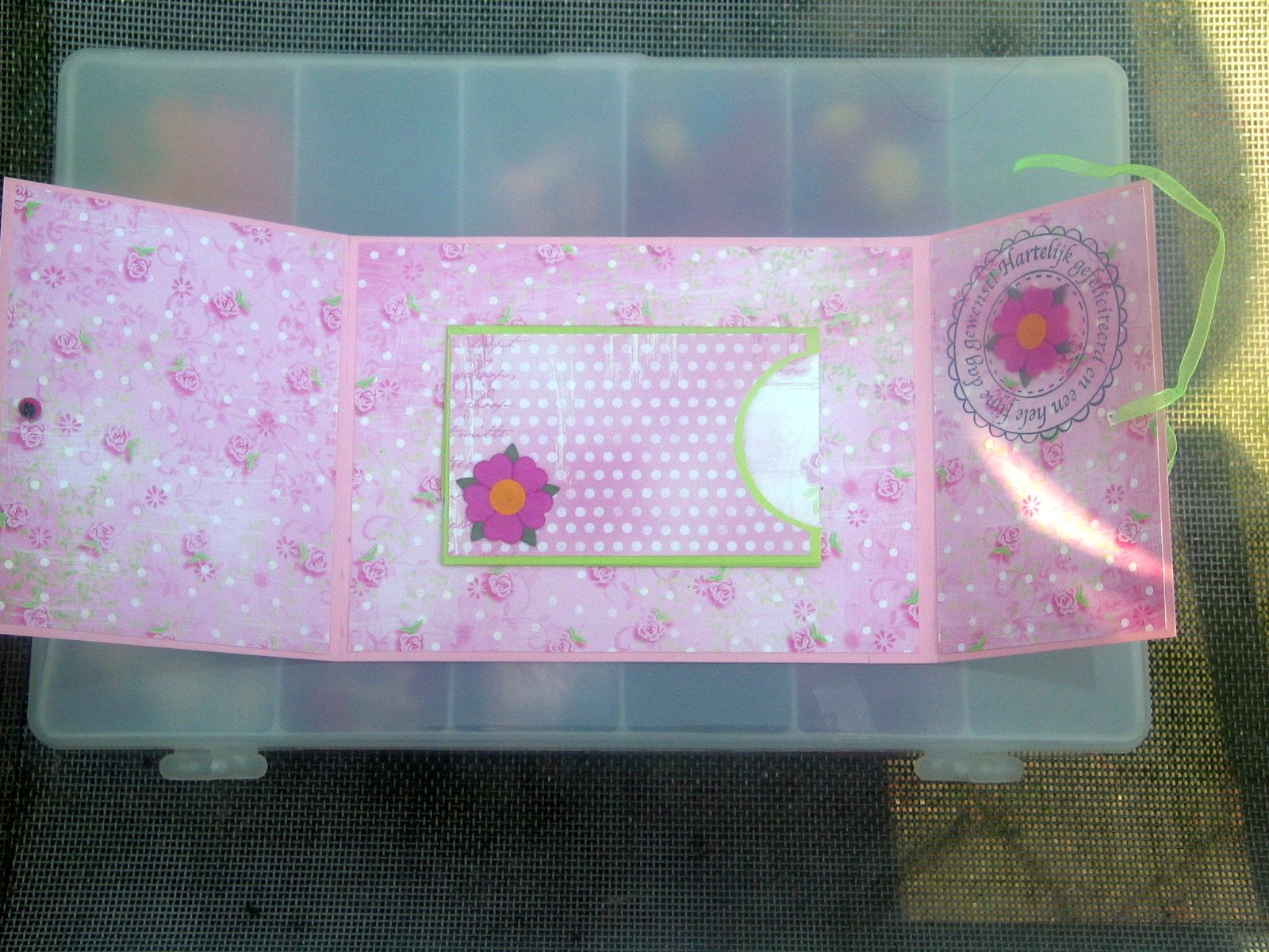 inside card with little pocket for money