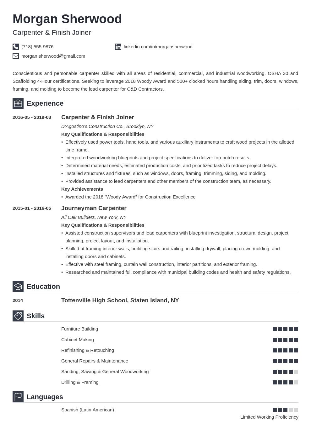 Carpenter Resume Example Template Iconic Resume Examples Resume Design Resume Layout