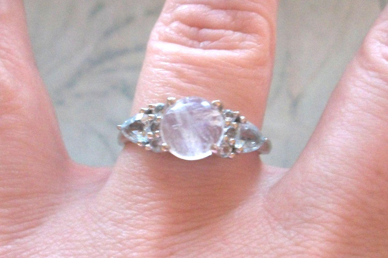 Vintage signed 925 STS Sterling silver ring,Moonstone,light blue ...