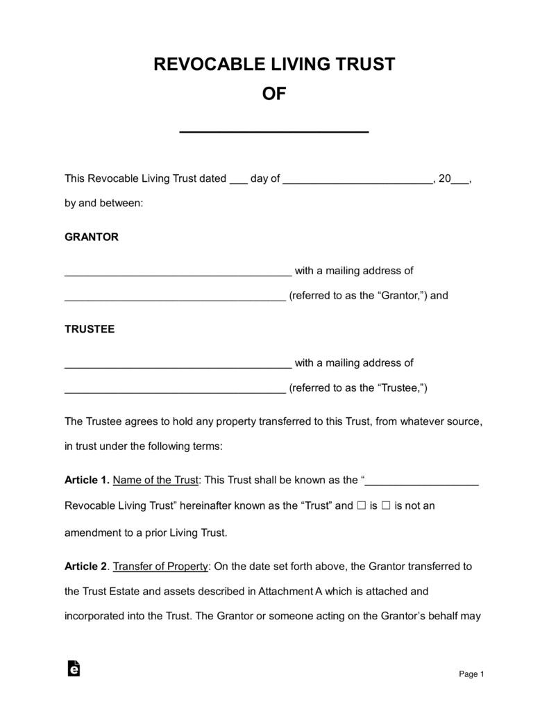 Free Living Trust Forms Free Revocable Living Trust Forms Pdf Word Living Trust Revocable Living Trust Doctors Note Template