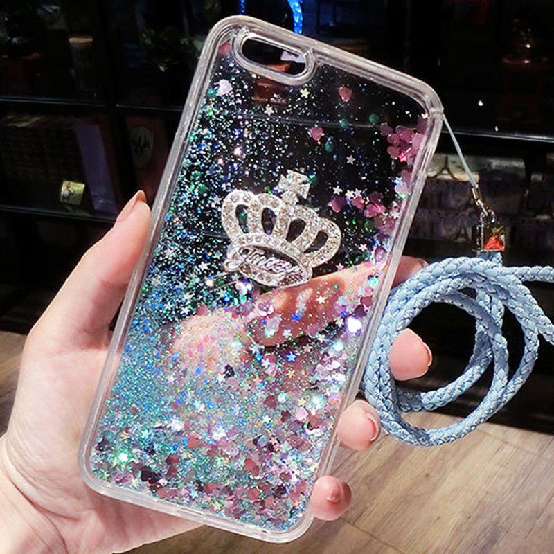 Dynamic quicksand liquid glitter clear crown case cover
