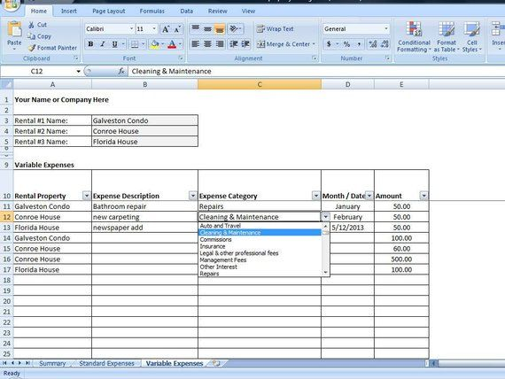 Vacation Rental Income and Expense Tracking Template, Short Term - rental property analysis spreadsheet 2