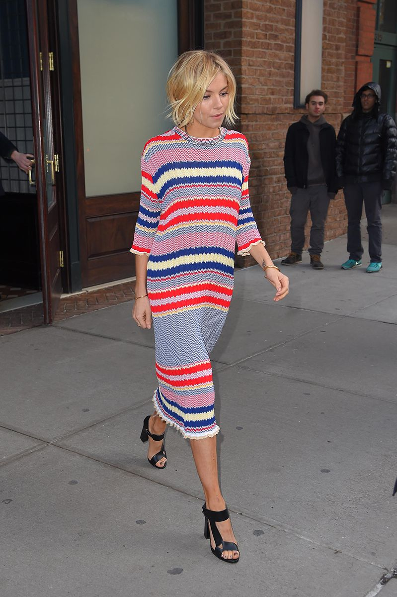2c7d8f87f72 Sienna Miller in a striped Celine midi dress  style  fashion  celebrity