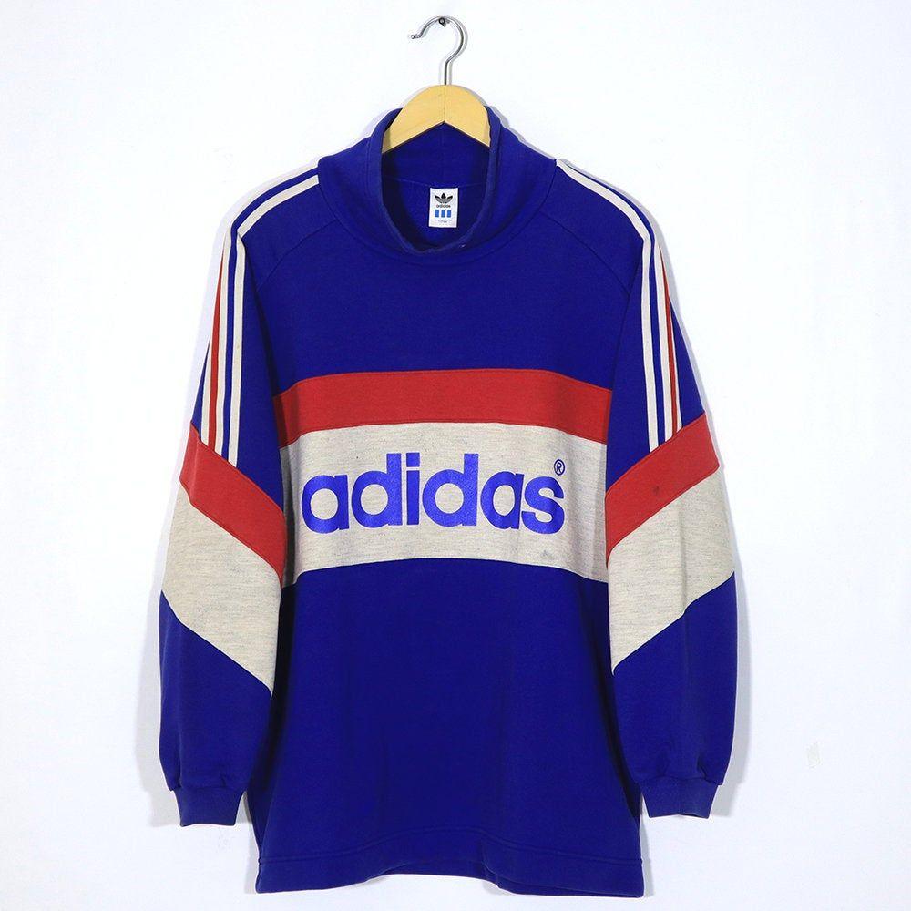 Vintage 90s Adidas Hoodie Crewneck Sweater Crewneck Pullover Etsy [ 1000 x 1000 Pixel ]