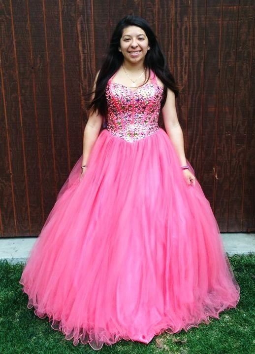 Size medium coral lace up corset back long poofy tulle jeweled prom ...
