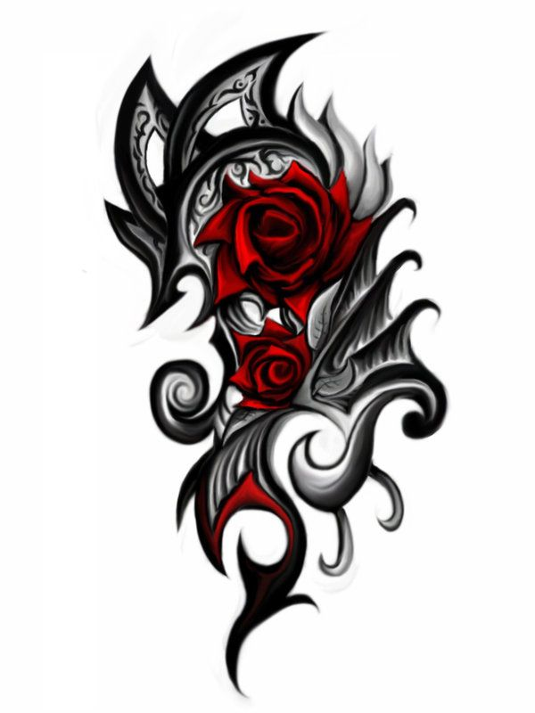 Rose And Cross Tattoo Gallery Tribal Heart Rose Tats Pinterest