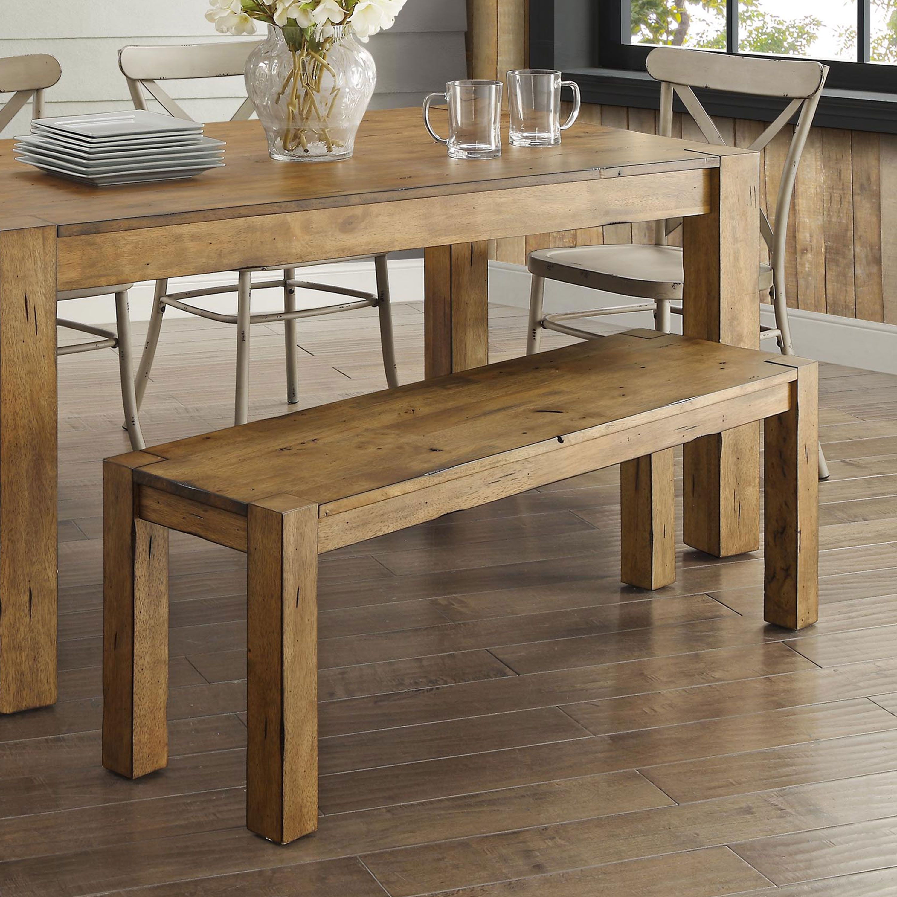 Free 2 Day Shipping Buy Better Homes Gardens Bryant Solid Wood Dining Bench Rustic Brown At Walmart Dining Table With Bench Wood Dining Bench Dining Bench