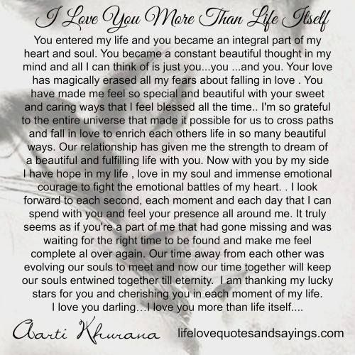 iloveyoumorethanlifeitself Love you more, Love