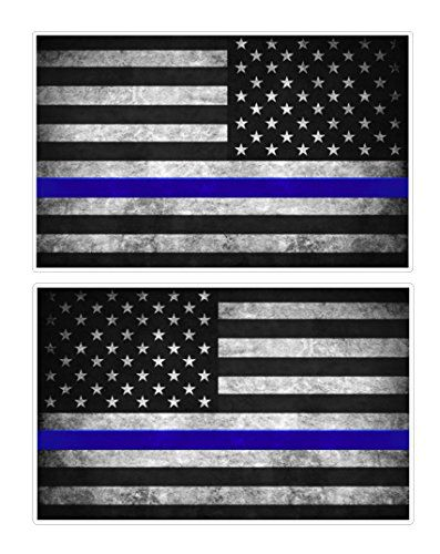 Thin Blue Line Flag Decals 3x5 In Black White And Blue Vintage