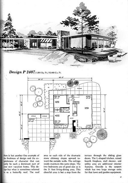 Design P 2407 Flickr Photo Sharing 2 Bed 1 Bath 2 Carport Vintage House Plans Mid Century Modern House Plans Mid Century Modern House