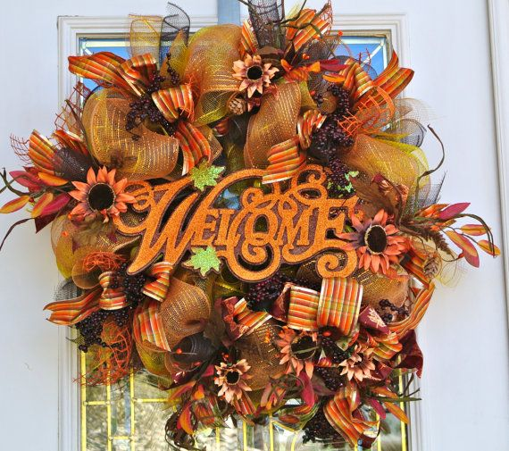 Welcome Autumn Deco Mesh Ribbon Wreath with by 4allseasons on Etsy, $74.99