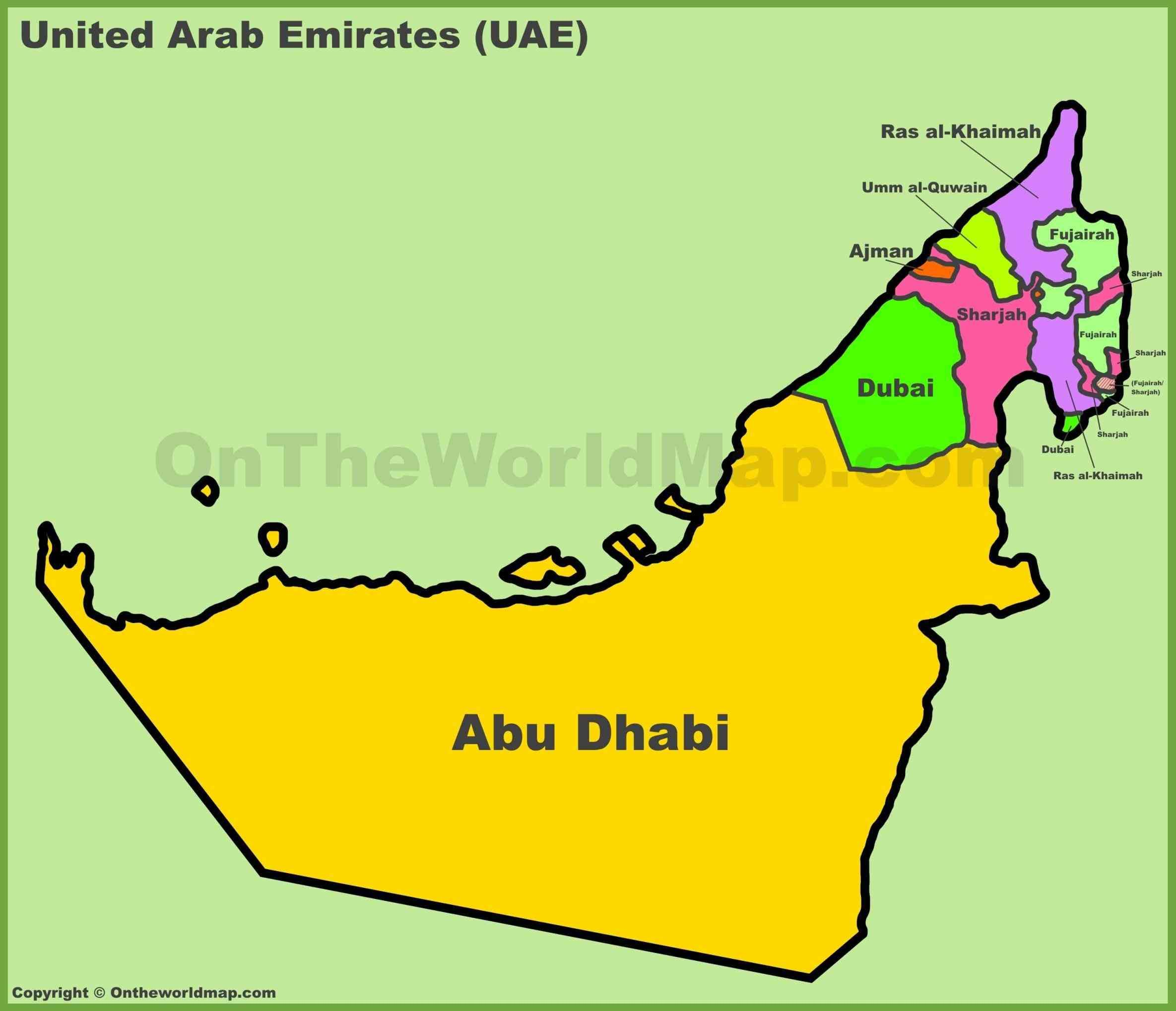 arab emirates map and travel information about in abu dhabi of dubai united arab emirates