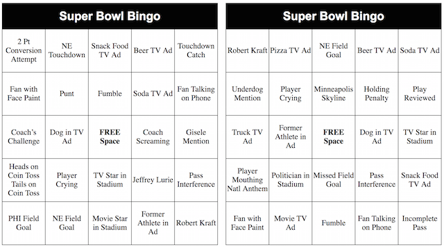 picture relating to Printable Super Bowl Bingo Cards identified as 2019 Printable Tremendous Bowl Bingo Playing cards superbowl Tremendous