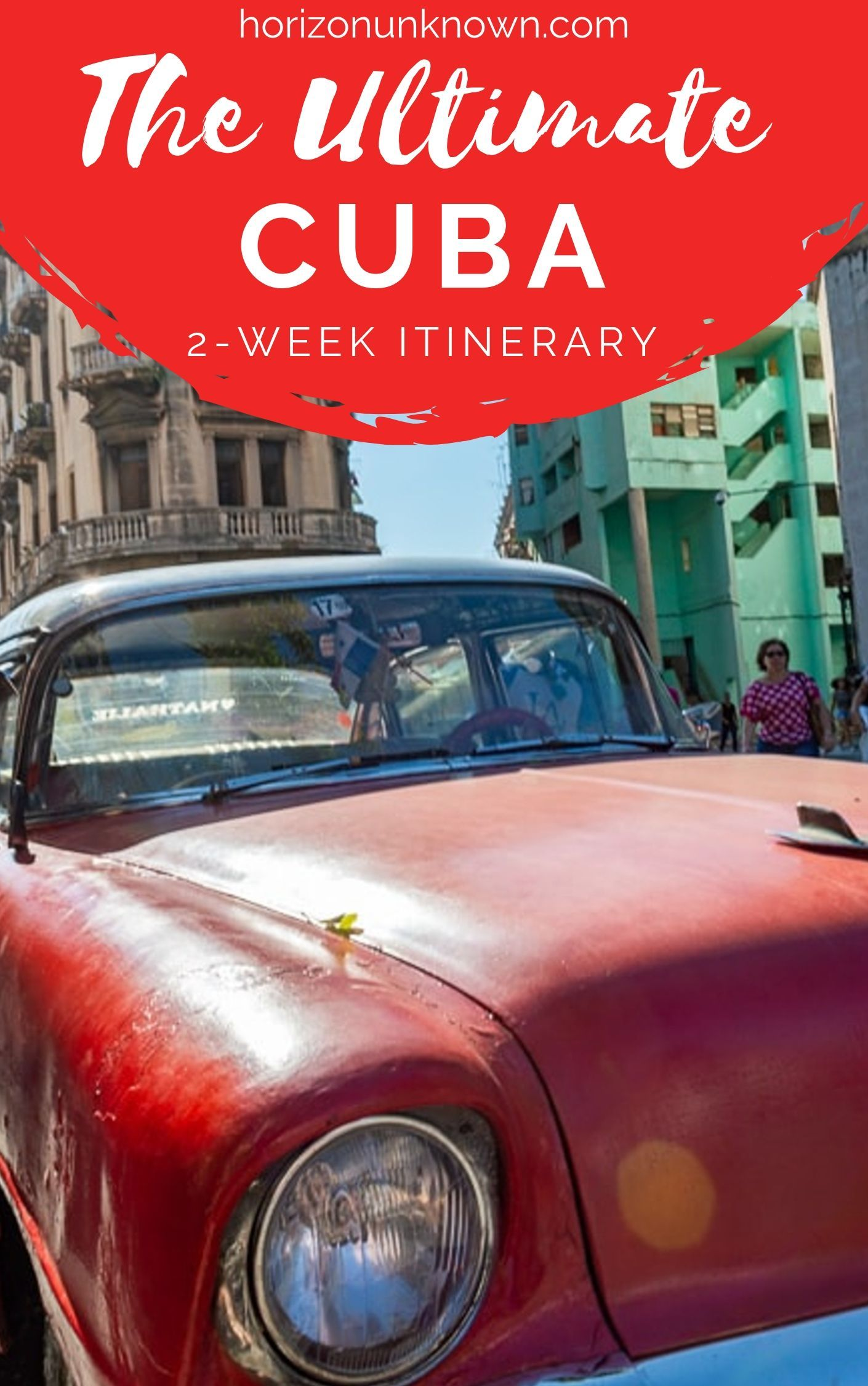 Thinking of traveling to Cuba? Build your perfect 2-week Cuba travel itinerary - From historical tours, to scuba diving and snorkeling, jungle treks and vibrant cars and buildings - Have an unforgettable time in Cuba! . #horizonunknown #travel #cuba #Caribbean #travelcuba #2weekcuba #havana #trinidad #vinales #cubabeaches #cubaphotography