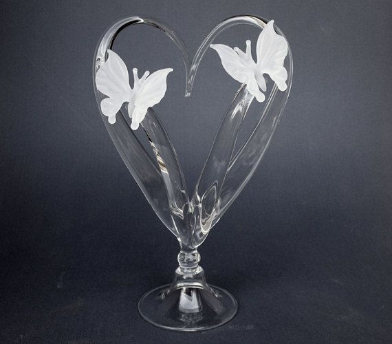 Butterfly Butterflies Glass Wedding Cake Top By ProchaskaGallery 13500