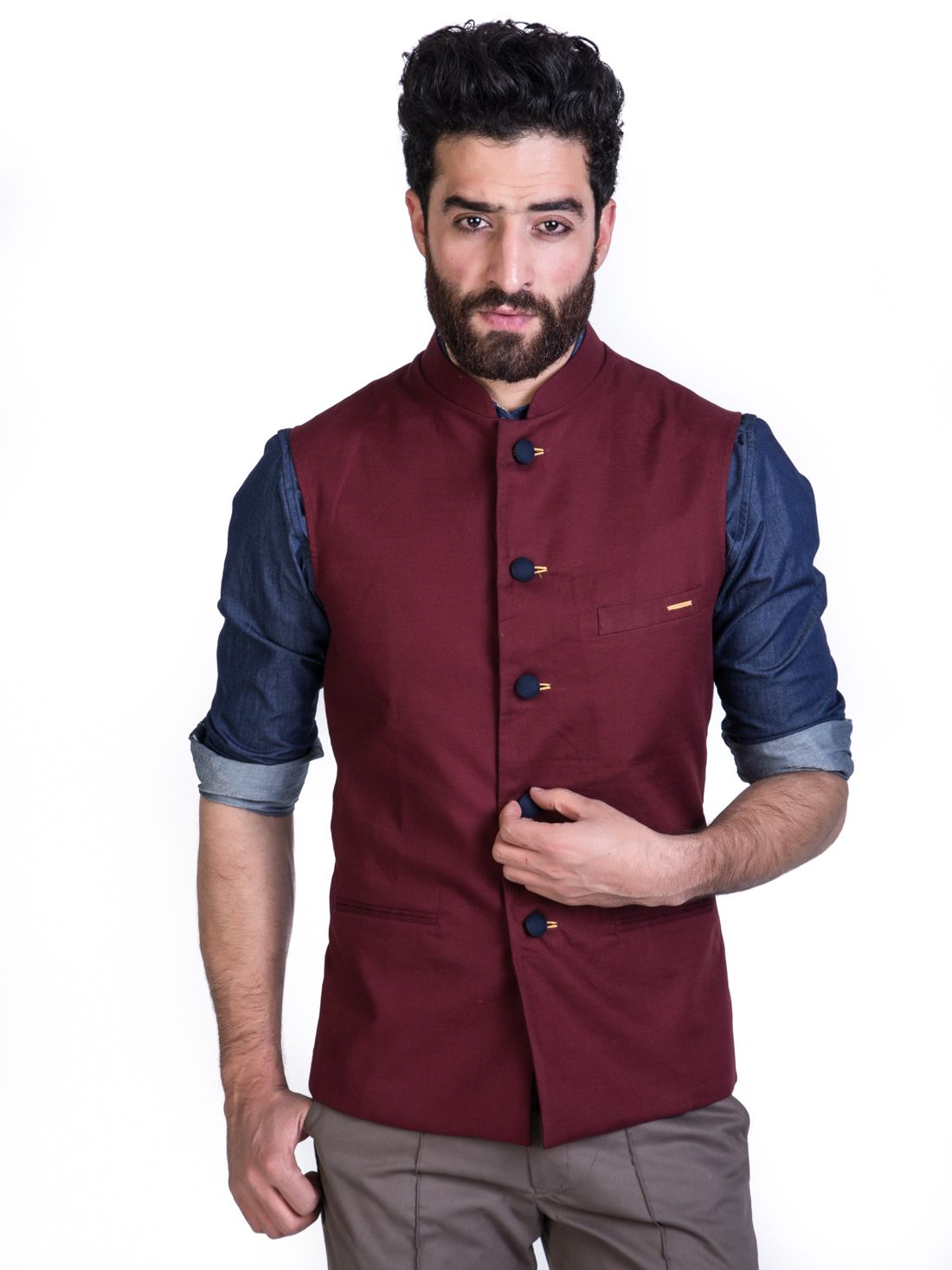 Burgundy Crystal Nehru Jacket | Designer suits for men ...
