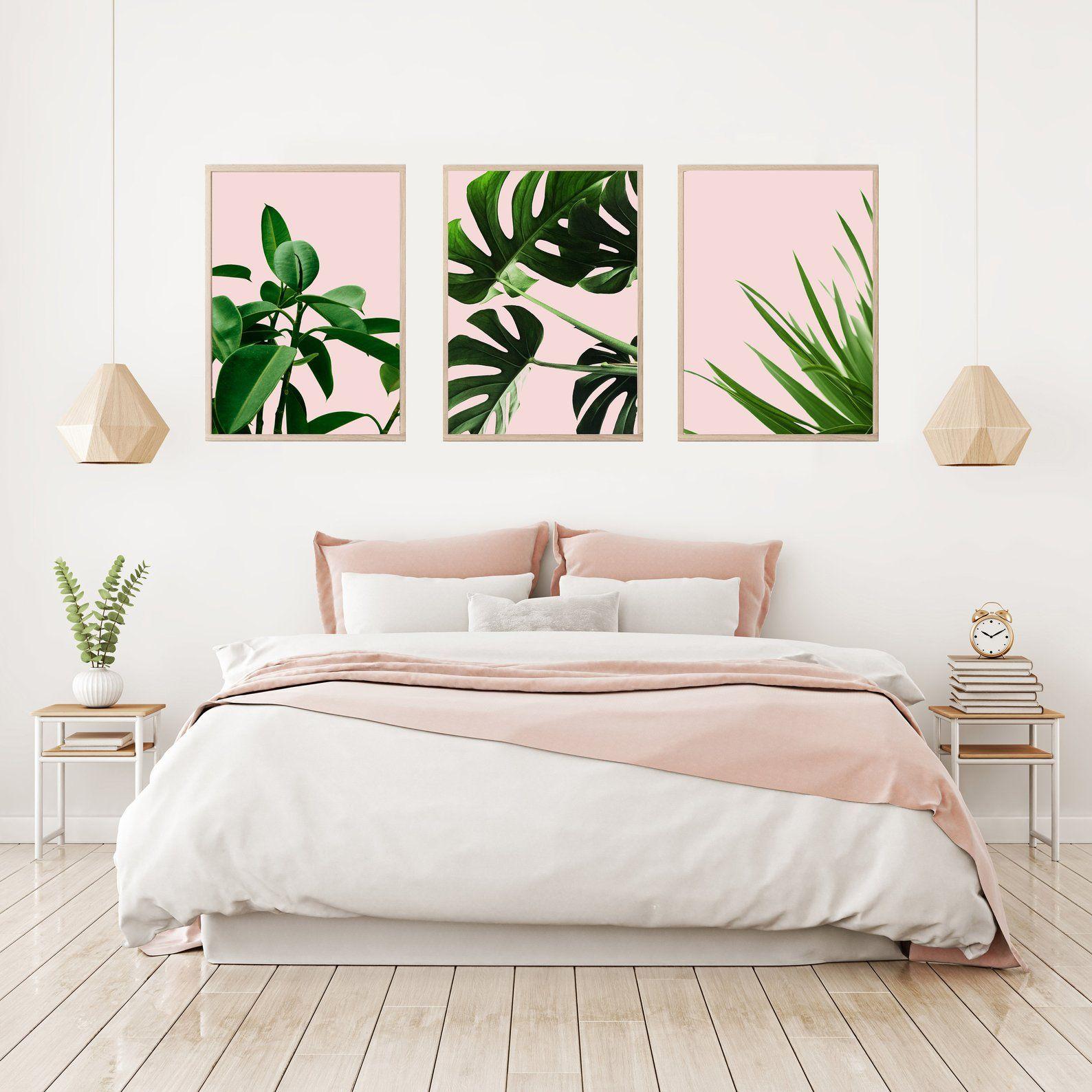 Set Of 3 Prints Monstera Print Green Leaf Set Blush Pink Etsy Home Decor Bedroom Bedroom Decor Bedroom Design Green leaf bedroom ideas