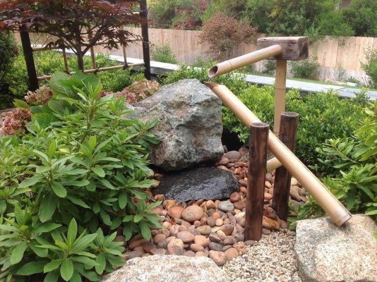 traditioneller japanischer garten mit bambus-wasserspiele/ brunnen, Gartenarbeit ideen