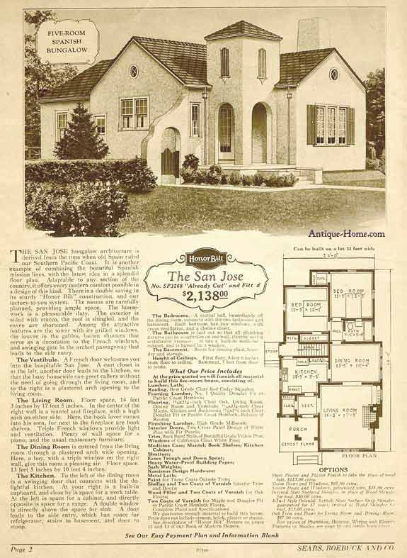 San jose model california style stucco 1928 sears Spanish revival home plans