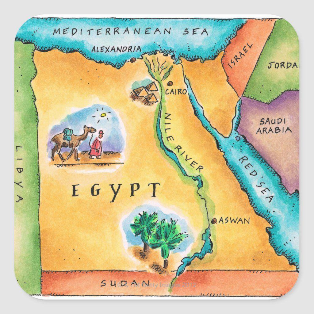 Map Of Egypt Square Sticker Zazzle Com Egypt Map Ancient Egypt Map Egypt Poster