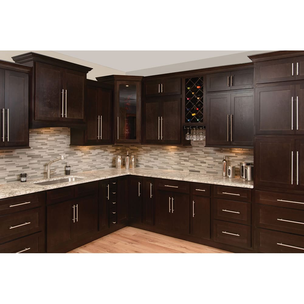 Rich Espresso Finish Standard Overlay Shaker Style Doors And Drawers Plywood Shelves And Dra Espresso Kitchen Cabinets Shaker Kitchen Cabinets Kitchen Cabinets