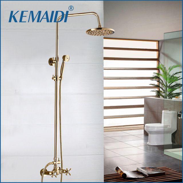 Kemaidi Luxury Antique Style Gold Color Bath Tub Faucet Ceramic Handle Handheld Shower Head Faucet Mixer Tap Bathroom S Bathtub Faucet Colorful Bath Tub Faucet