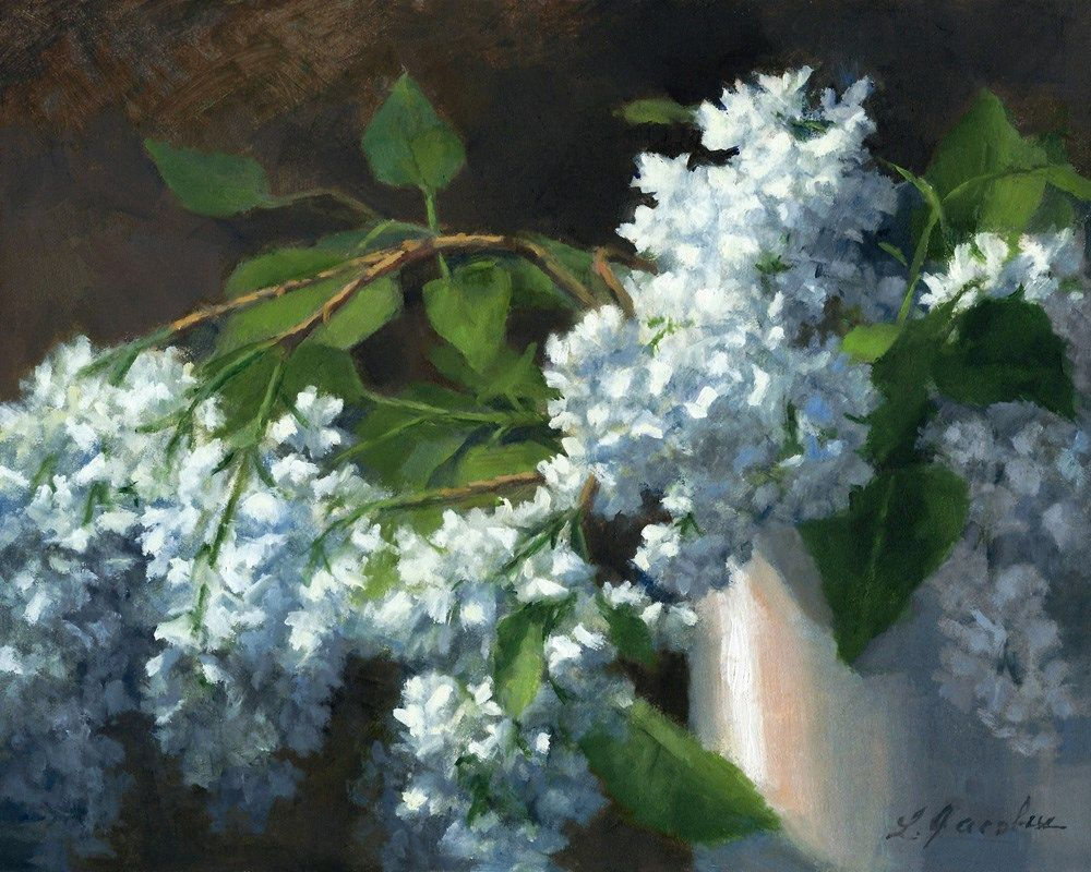 Daily paintworks linda jacobus ud spring brings the lilacs art