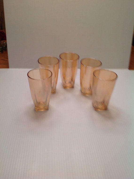 Vintage Carnival Depression Set of 5 Water Glasses