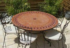 Table jardin mozaïque en fer forgé Table jardin mosaique ronde 130cm ...