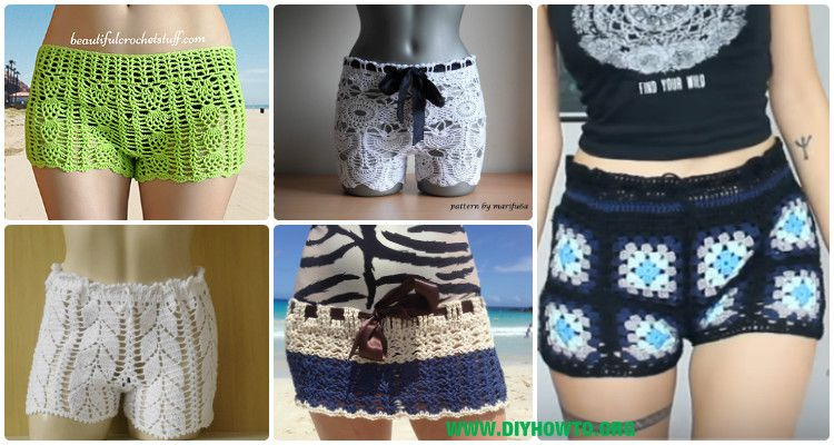 Crochet Summer Shorts & Pants Free Patterns Adult Size & instructions #shortslace