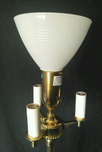 Stiffel Floor Lamp Torchiere Mogul Mid Century Brass Pole Switch