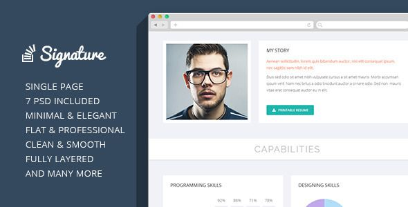 Signature - OnePage Personal Resume PSD Theme  Signature is a - single page resume