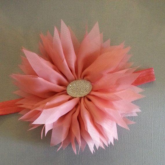 Fluffy Chiffon Coral Flower with Rhinestone by LavenderandLaceBows, $7.95
