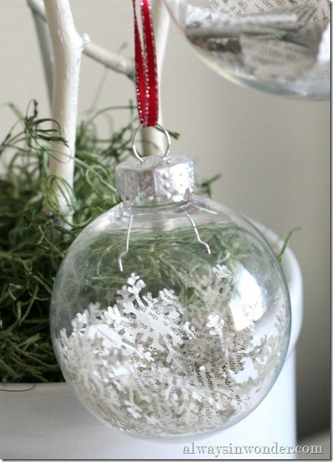 Have Seen Paper Strips Cut From Books Inside Glass Ornaments Before, But  This Is Different · Clear Glass OrnamentsClear Christmas ...