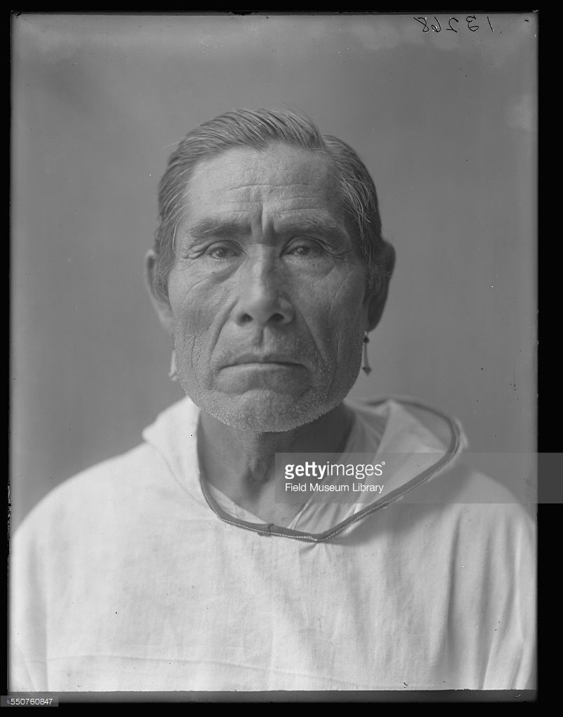 Portrait of an unidentified Native American man of the Aleut tribe ...