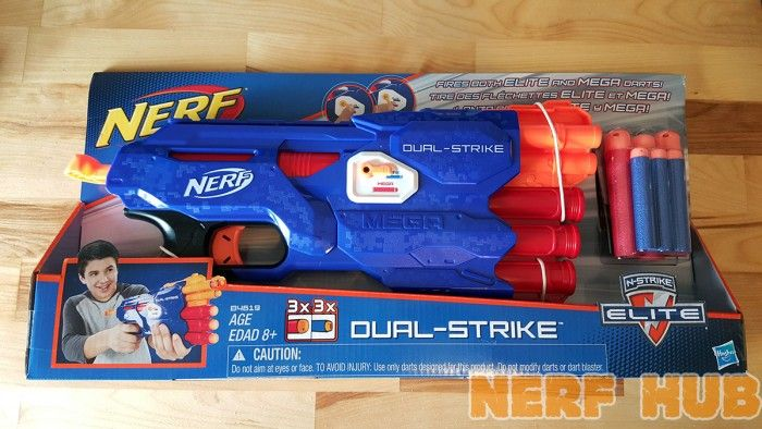 The New Nerf DualStrike Blaster can fire both Mega and Elite darts! The  first of