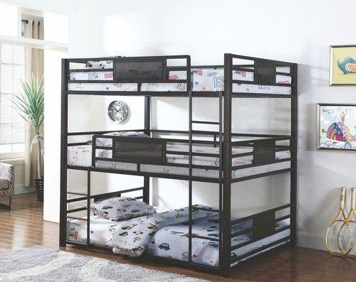 Rogen Dark Bronze Triple Full Size Stackable Bunk Bed 460394f Kids