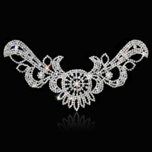 1Pcs Wings Crystal Applique Rhinestone Patch Sew on Wedding Sashes Dress  DIY Bridal Sewing Crafts 39.8×12 cm a49a4acc228e