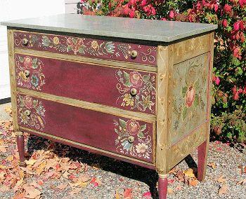 Pintura bauernmalerei artigianato laquear moveis id ias para mob lia e m veis restaurados - Decoupage su mobili vecchi ...