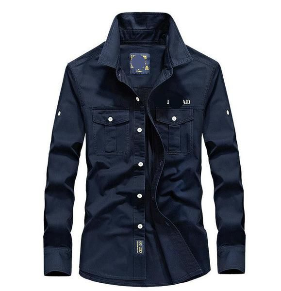 1b79fd7935 Men s casual brand army green shirts man 100% cotton khaki black Long sleeve  sh