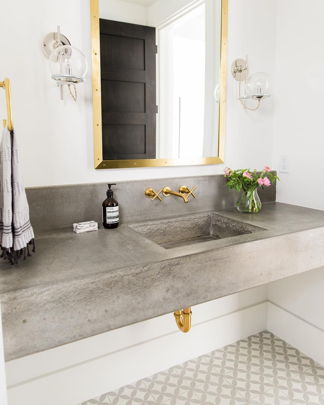 Floating Concrete Sink And Brass Fixtures Studio McGee