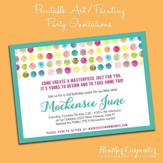 Printable Art Party Invitation Paint Dots Birthday DIY Rainbow – Party Invitations Pinterest
