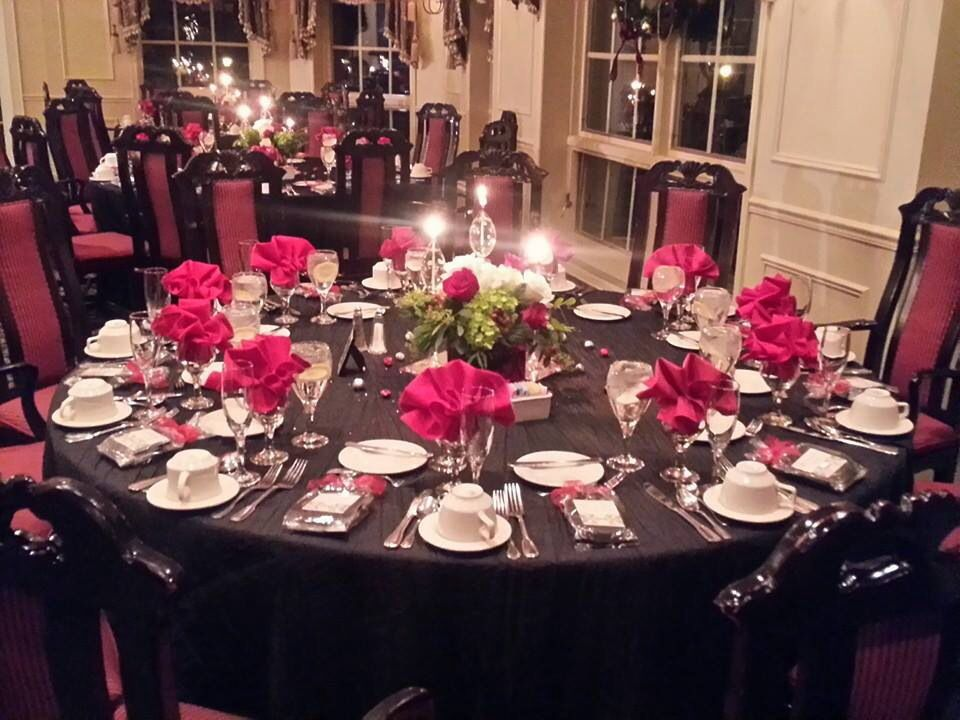 Black And Red Wedding Tables For Reception Black Table Cloths