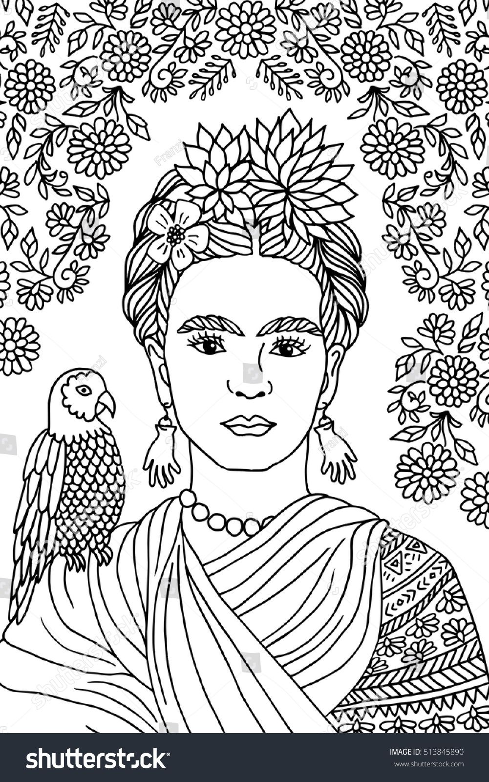 Hand drawn portrait of Frida Kahlo, with floral background