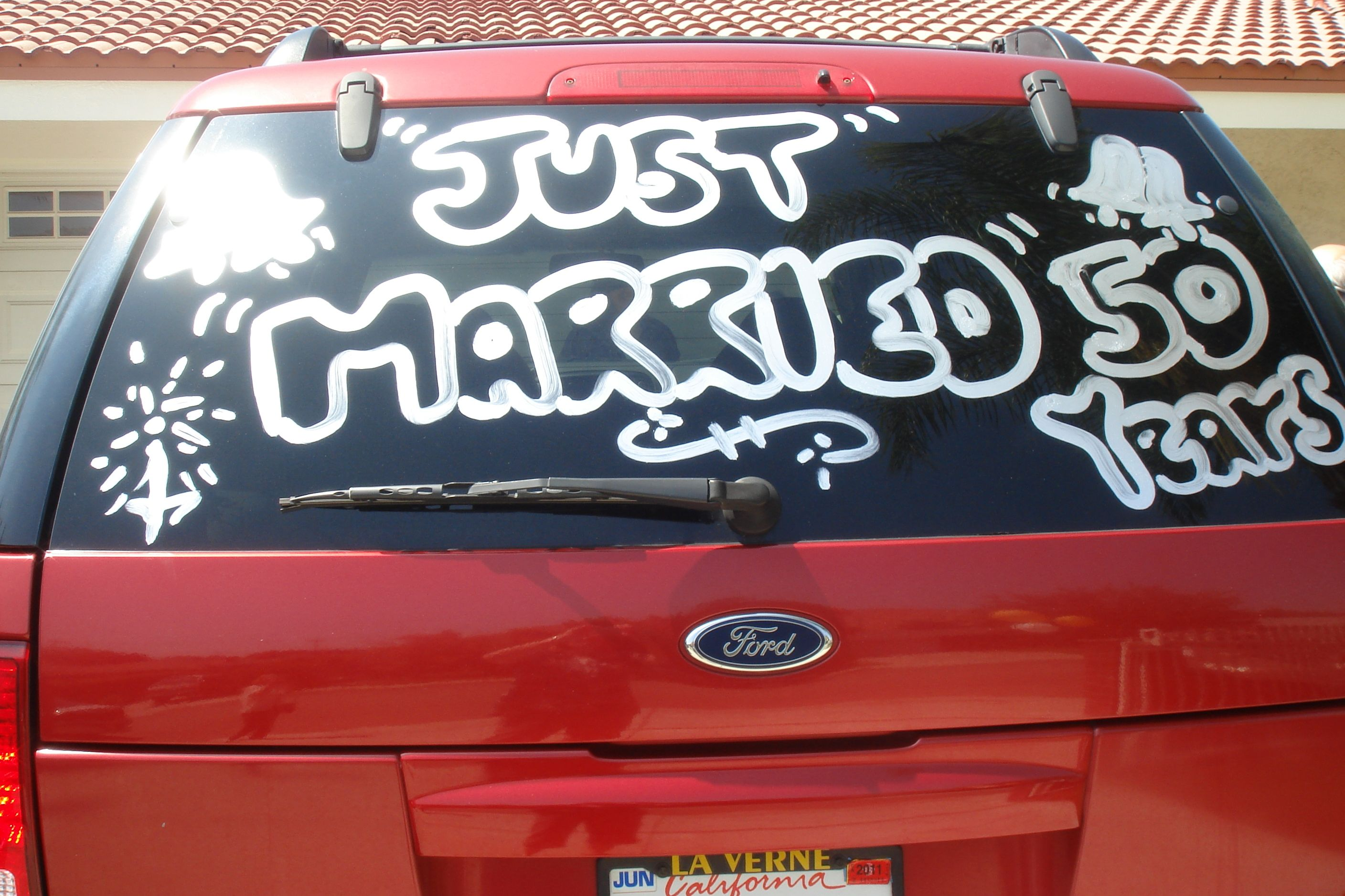 Wedding vehicle decorations  Would be cute to decorate their car  Itus My Party  Pinterest