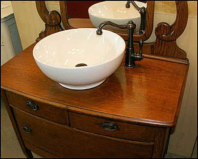 Photo of Sink and faucet - Antique Bathroom Vanity: Princess Dresser with  Vessel Sink - Photo Of Sink And Faucet - Antique Bathroom Vanity: Princess