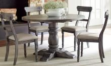 Brushed Gray Finish Modern Rustic Round Dining Table Set